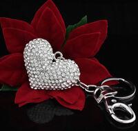 Women Lady Crystal Diamante Heart Bag Handbag Charm Keyring Keychain For Women
