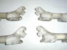 More details for vintage set of 6 french frosted glass poodle dog knife/cutlery rests