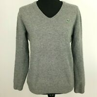 Lacoste Womens Jumper 5 Chest 38'' Grey Wool Pullover Sweater Knit V-Neck