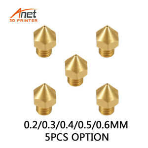 5pcs MK8 Nozzle Thread M6 0.2MM/0.3/0.4MM/0.5MM For MK8 Extruder Hotend 1.75MM
