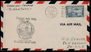 FIRST FLIGHT COVER - TRANS ATLANTIC - AAMC #3921g -1939- SHEDIAC, NB to NEW YORK