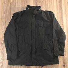 Vintage Rothco Black Ultra Force US Army Miliatary Hooded Field Coat Parka XXL