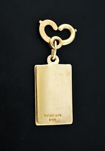 Vintage Tiffany & Co 14k Yellow Gold Rectangular Charm Or Pendant For Necklace