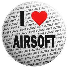 "I Love Airsoft Pin Badge 3"" 75mm  - Gift - Birthday - Stocking Filler"