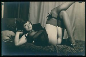 French nude woman Grundworth relax stockings & lingerie old c1925 photo postcard
