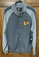 '47 Chicago Blackhawks NHL Full Zip Sweatshirt Embroidered Men L Gray NWT New