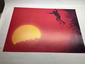 Vintage Original Ski Poster Big Sunset Freestyle Mountain Jump 1960s