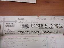 Vintage letterhead Gasser and Johnson Reading PA Doors Blinds 7/10/1894