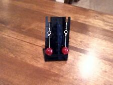 Handcrafted Red Jade Gemstone Sterling Silver Earrings by Rockmight