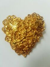 RESERVE VTG CHRISTIAN LACROIX Large GoldPlated Heart BROOCH w CROSS HEARTS CL
