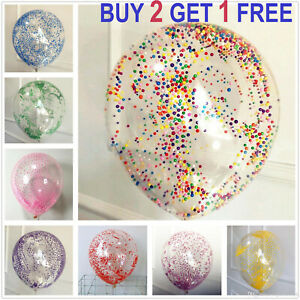 "CLEAR FOAM FILLED BALLOONS 12""INCH Helium High Quality Party Wedding Birthday UK"