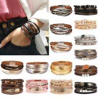 Fashion Punk Women Leather Cuff Magnetic Clasp Bracelet Bangle Wristband Jewelry