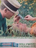 PUBLICITÉ DE PRESSE 1962 HOLLYWOOD CHEWING-GUM FRAICHEUR - ADVERTISING