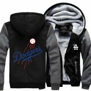 Los Angeles Dodgers Baseball Hoodie Zip up Jacket Coat Winter Warm Black Gray