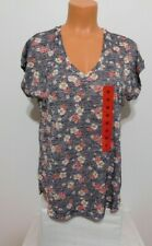 Bobeau Shirt Top Short Sleeve Size MEDIUM Blue Floral  V Neck Knit  NEW