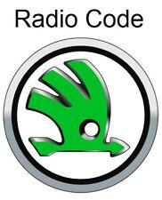 Skoda Radio Code / Key Code Fabia Roomster Octavia Blaupunkt Delphi Rapid Navi