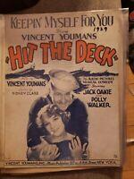 Vintage Sheet Music 1929 Hit the Deck Polly Walker Vincent Youmans Jack Oakie