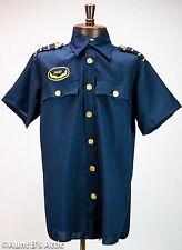 Pilot Shirt Navy Blue Short Sleeved Uniform Style Costume Shirt W/ Gold Trim Lg