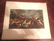 Pablo De Vos Hunting Scene OIL ON CANVAS  Lithographie ancienne numérotée