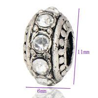 5pcs Tibetan Silver White CZ Retro Charm Bead fit European Crystal Bracelet