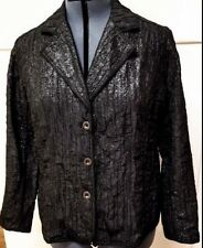 Chicos Black Shiny Textured Womens Plus Sz 3 XL 16 Blazer Loose Jacket Party
