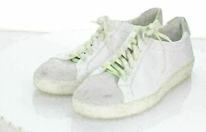 30-33 $225 Women Sz 9.5 M Vince Janna Leather/Suede Lace-Up Sneaker In White