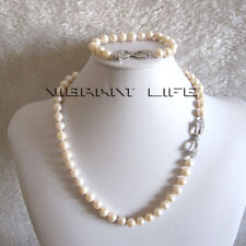 """20"""" / 7.5"""" 9-10mm White AA Freshwater Pearl Necklace Plated White Gold"""