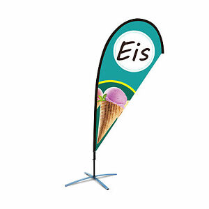 Beachflag Eis über 2m hoch Icecream Reklame Eisdiele Werbefahne Werbung Flagge