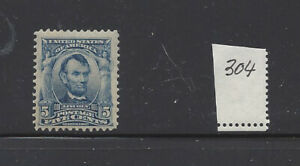 UNITED STATES 304 MNH 5c LINCOLN *SMALL DISTURBED GUM AREA*