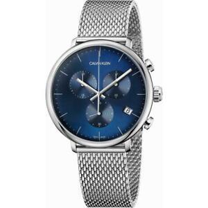 Orologio Uomo CK CALVIN KLEIN HIGH NOON K8M2712N Chrono Acciaio Mesh Blu