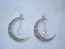 CRESCENT MOON SILVER CRYSTAL STAR SP Drop Earrings Pagan Wicca Tattoo Celestial