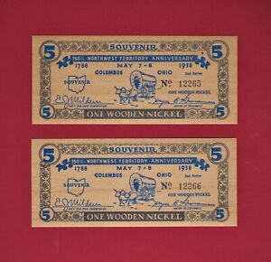 CONSECUTIVE-PARTNERS 1938 Wooden Nickels: 150th Anniversary NORTHWEST TERRITORY