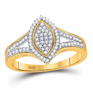 10kt Yellow Gold Womens Round Diamond Cluster Ring 1/5 Cttw