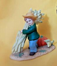 Vintage Lefton Fairy Garden Miniature Halloween Boy Hay Stalk Pumpkin Figurine