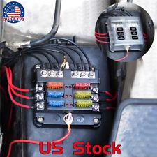 New listing 6Way Led Ato Blade Caravan Marine Car Boat Dual Battery Fuse Block Box Holder Us