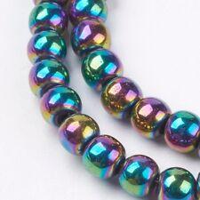 Non Magnetic Rainbow Round Hematite Beads Grade A -  65-70 Beads Per Strand