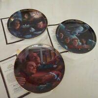3 Star Trek Voyager Collector Plate Hamilton By Dan Curry COA 1996 VOYAGE BEGINS