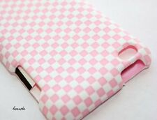 iPod Touch 4th Gen - HARD RUBBERIZED CASE COVER PEARL PINK WHITE CHECKER PLAID