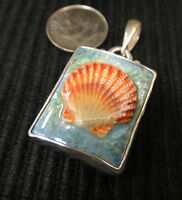 porcelain SEA SHELL and sterling silver handmade pendant slide for necklace NWT