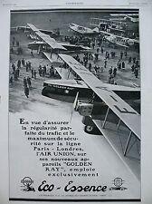 PUBLICITE DE PRESSE ECO-ESSENCE AIR UNION AVION GOLDEN RAY FRENCH AD 1929