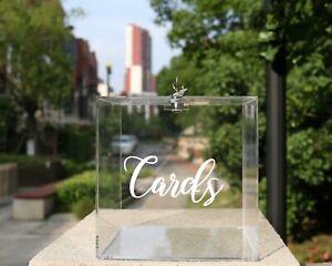 Acrylic Wedding Card Box Transparent Gold Sticker Lock Party Money Gift Holder