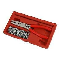 Hog Ring Plier Set, 100 Rings, Upholstery Seat Cover Trim Fitting Tool (CT3983)