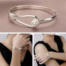 Fashion Women 925 Silver Plated Bracelet Jewelry Silver Lady Bangle Gift
