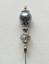 """SILVER GREY PEARL/CRYSTAL Vintage Antique Style 6"""" Hat Pin Jellybean"""