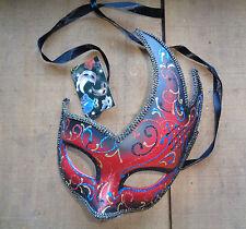 Brillo Rojo veneciano Máscara Negro Nuevo Con Etiquetas-Carnaval Mardi Gras Traje De Mascarada Baile