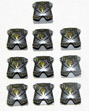 LEGO LOT OF 10 NEW KINGDOMS ARMOR PLATES WITH LION LOGO PATTERN FLAT SILVER