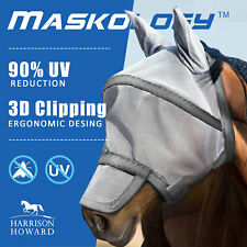 Harrison Howard Maskology Supreme Grey Mesh Fly Mask UV Protection for Horse