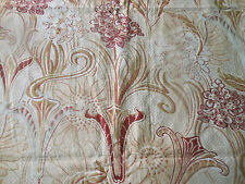 Antique French Art Nouveau Stylized Floral Cotton Fabric ~ Burgundy Red Caramel