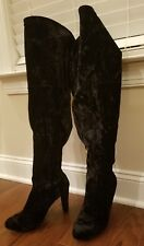 NEW LANE BRYANT BLACK CRUSHED VELVET OVER THE KNEE HEEL BOOTS SIZE 9 wde calf