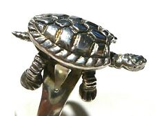 WOMENS ESTATE STERLING SILVER OSCILLATING TURTLE RING BAND SIZE 5.25